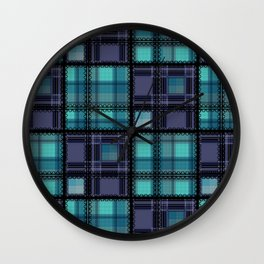 Blue purple colorful checkered pattern . Wall Clock