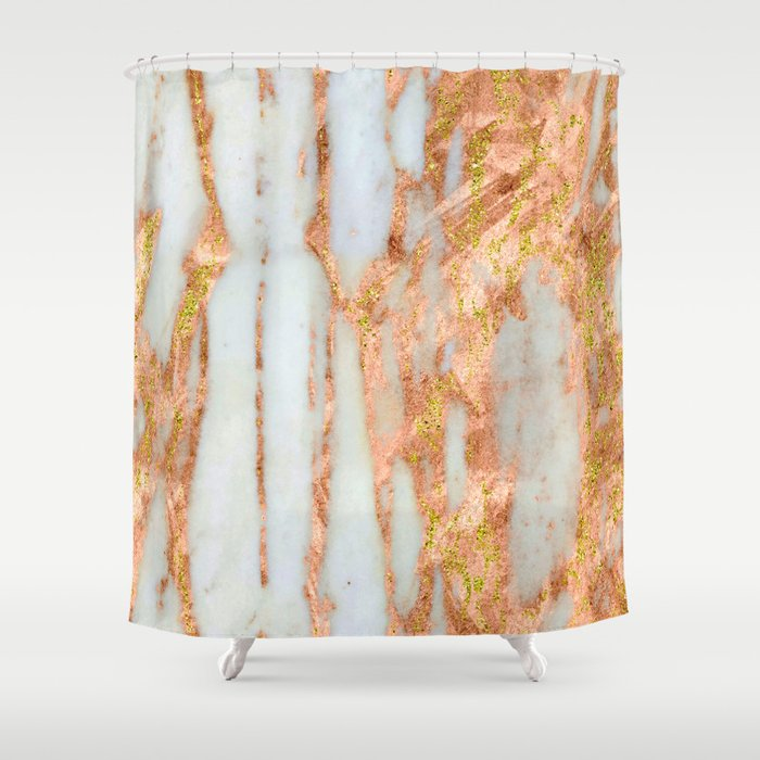 White Alabaster Marble With Flowing Gold-Glitter Veins Shower Curtain
