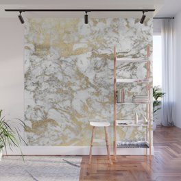 Modern chic faux gold white elegant marble Wall Mural
