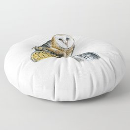 Strike a Pose - painting of a young Barn Owl by Teresa Thompson Floor Pillow