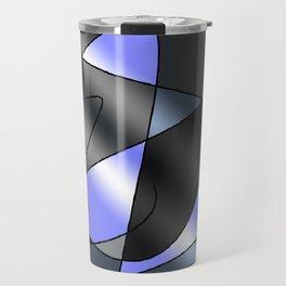 ABSTRACT CURVES #2 (Grays & Light Blue) Travel Mug