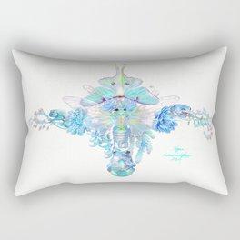 Aqua Chalcedony Luna Moth Cicada Floral Rectangular Pillow