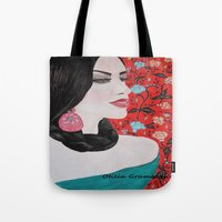 spanish Tote Bags featuring Spanish Dreaming by otilia elena