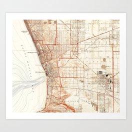 Vintage Map of Redondo Beach & Torrance CA (1934) Art Print
