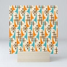 Retro Mid Century Modern Atomic Wing Pattern 422 Brown Orange and Turquoise Mini Art Print