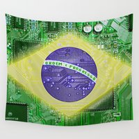 brazil Wall Tapestries featuring circuit board Brazil by seb mcnulty