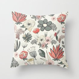 Coral and Olive Green Botanical Flowers Throw Pillow