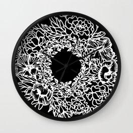 White Linocut Flowery Wreath On Black Wall Clock