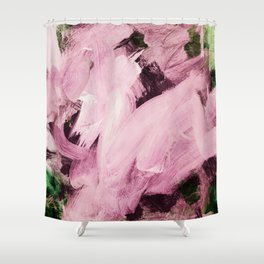 Red Violet on green hues Shower Curtain