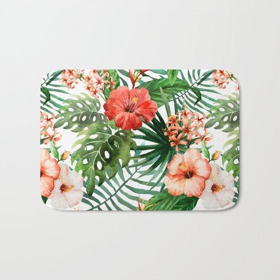 Hibiscus and Palm Leaf Pattern Bath Mat