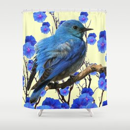 BLUE BIRD & BLUE MORNING GLORIES ART FROM  SOCIETY6 BY SHARLESART. Shower Curtain