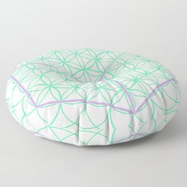 Sacred Geometry - glowing energy lines - cube and flowers Floor Pillow