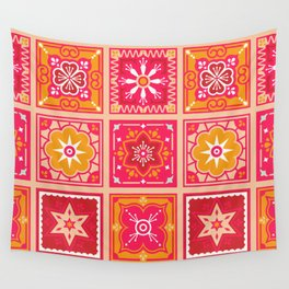 Talavera Mexican Tile – Hot Pink & Orange Palette Wall Tapestry