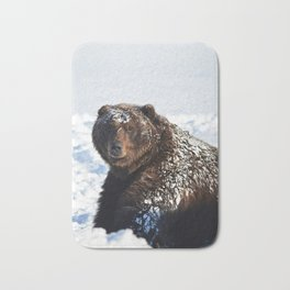 Alaskan Grizzly in Snow Bath Mat