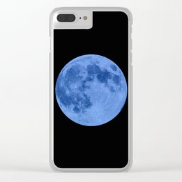 MOON GLOW BLUE Clear iPhone Case
