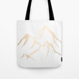Adventure White Gold Mountains Tote Bag
