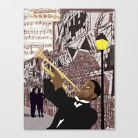 louis armstrong Canvas Prints featuring Louis Armstrong by Cwilwol