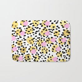 Pink Gold abstract painting foil trendy minimal modern art paint pattern gender neutral non binary  Bath Mat