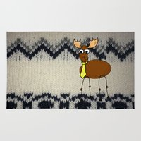 moose Area & Throw Rugs featuring moose by Paul Simms