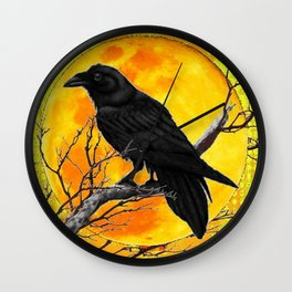 YELLOW FULL MOON CROW TREE ART Wall Clock
