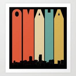 Vintage 1970's Style Omaha Nebraska Skyline Art Print