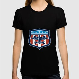 American Eagle Mechanic USA Flag Crest T-shirt
