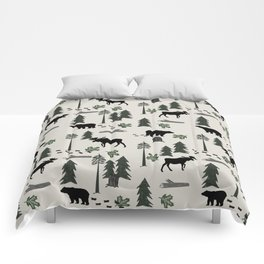 Camping woodland forest nature moose bear pattern nursery gifts Comforters