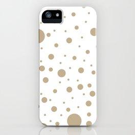 Mixed Polka Dots - Khaki Brown on White iPhone Case