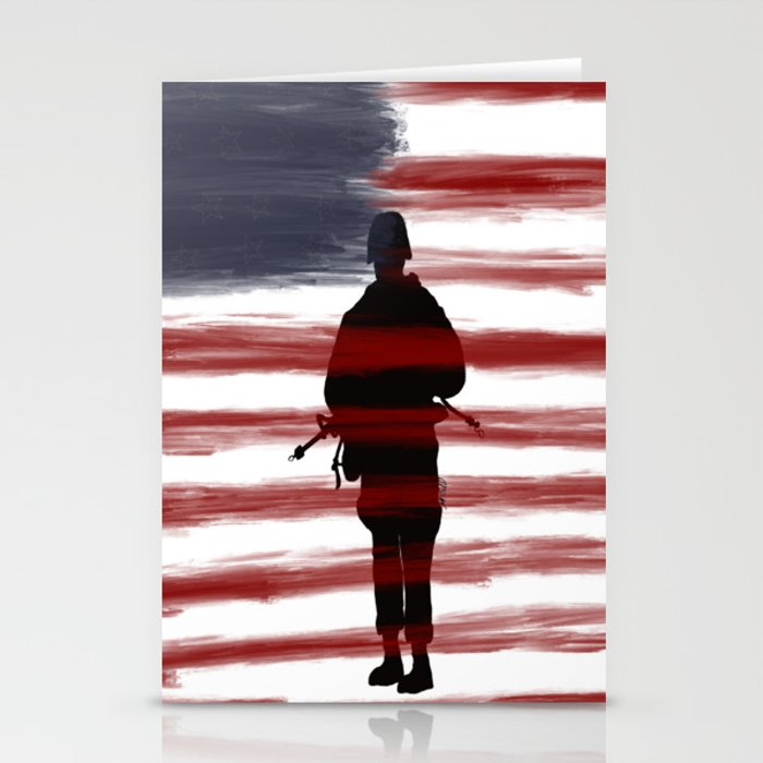 Soldier and Flag - Patriotic Stationery Cards