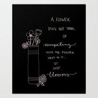 Competing Flowers Art Print