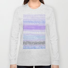 Abstract geometrical blue lilac violet watercolor stripes texture Long Sleeve T-shirt