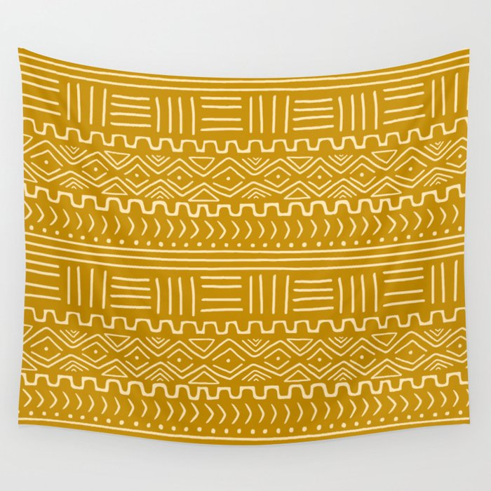 Mud Cloth on Mustard Wall Tapestry