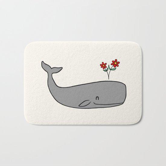 Peace Whale  Bath Mat
