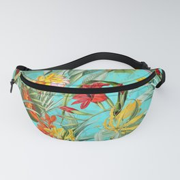 Vintage & Shabby Chic - Pierre-Joseph Redouté -Colorful Tropical Blue Garden Fanny Pack