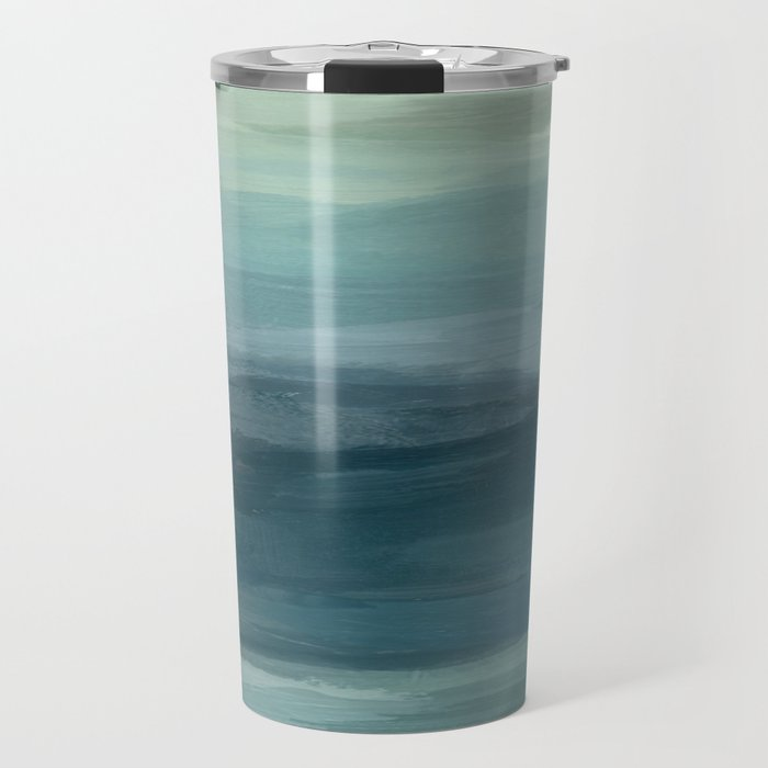 Seafoam Green Mint Navy Blue Abstract Ocean Art Painting Travel Mug