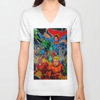 superheros V-neck T-shirts featuring Heroes Unite by JayKay