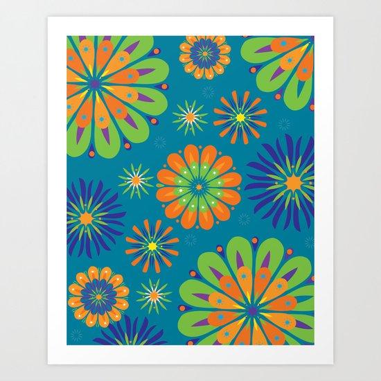 Psycho Flower Blue Art Print