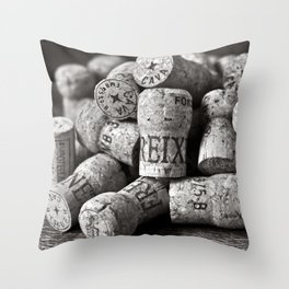 Cork of Champagne in Black and White Throw Pillow