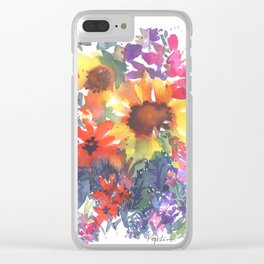 Rainy Day Sunflowers Clear iPhone Case