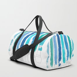 Lipstick Stripes - Blue Teal Turquoise Duffle Bag