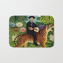 Henri Rousseau Dreaming of Tigers tropical big cat jungle scene by Henri Rousseau Bath Mat