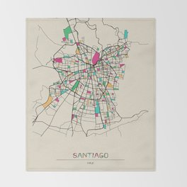 Colorful City Maps: Santiago, Chile Throw Blanket