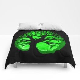 Happy HaLLoween Brain Tree : Green & Black Comforters