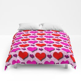 Love Hearts Pattern With Pink Fuzzy Background Comforters