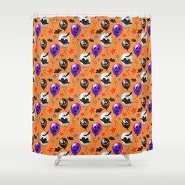 Halloween Mouse Ears Bats & Balloons Shower Curtain