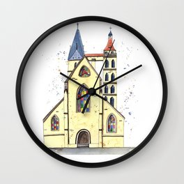 Gothic Church in Germany whimsical watercolor painting Wall Clock