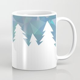 Northern Lights in winter forest in geometrical style Coffee Mug