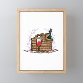 Picnic basket with Blanket and Bottle of Red wine Framed Mini Art Print