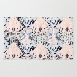 watercolor IKAT collage, mixed media, pastel pattern, pink, indigo, grey, black, sky blue Rug
