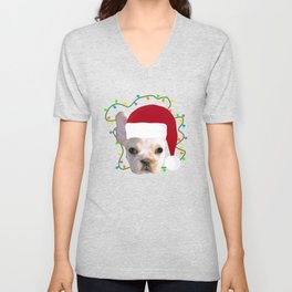 French Bulldog Santa Unisex V-Neck